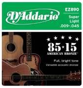 Encordoamento D Addario para Violão Aço EZ890 Super Light .009-.045 - Transa Som Instrumentos Musicais