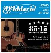 Encordoamento D Addario para Violão Aço EZ910 Light .011-.052 - Transa Som Instrumentos Musicais