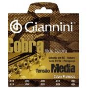 Encordoamento Giannini Cobra para Viola Caipira, Tens�o M�dia GESVNM .011 -034