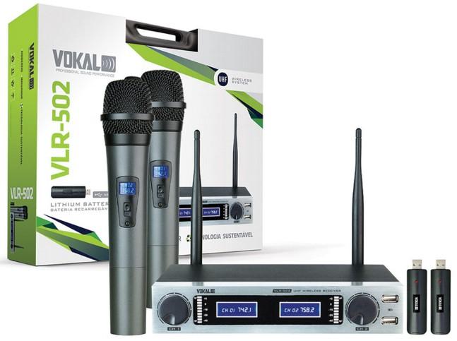 Microfone de Mão Sem Fio Vokal VLR-502, Duplo c/ Bateria Recarregável - UHF  - Transa Som Instrumentos Musicais