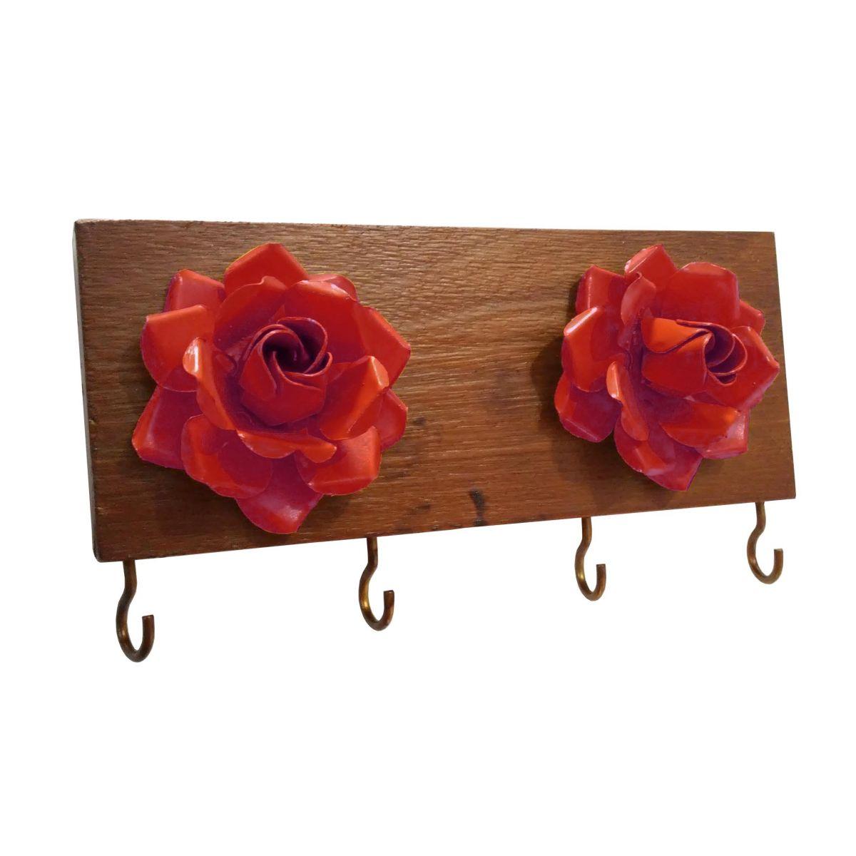 Suporte para Chaves com 2 Flores e 4 Ganchos Artesanal Rústico Vermelho
