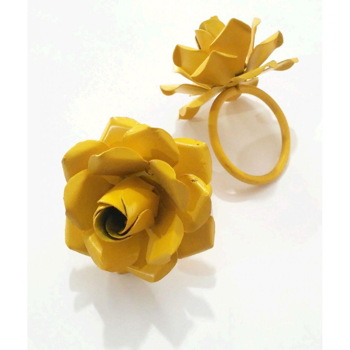 Porta Guardanapo Rústico em Argola Flor Amarelo