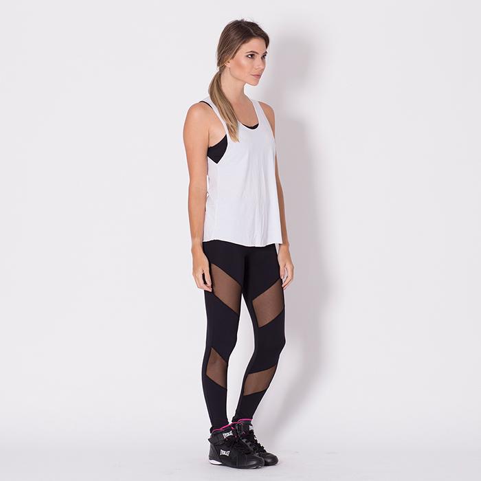 Calça go Fit Rio Legging Fitness Recorte/Tule