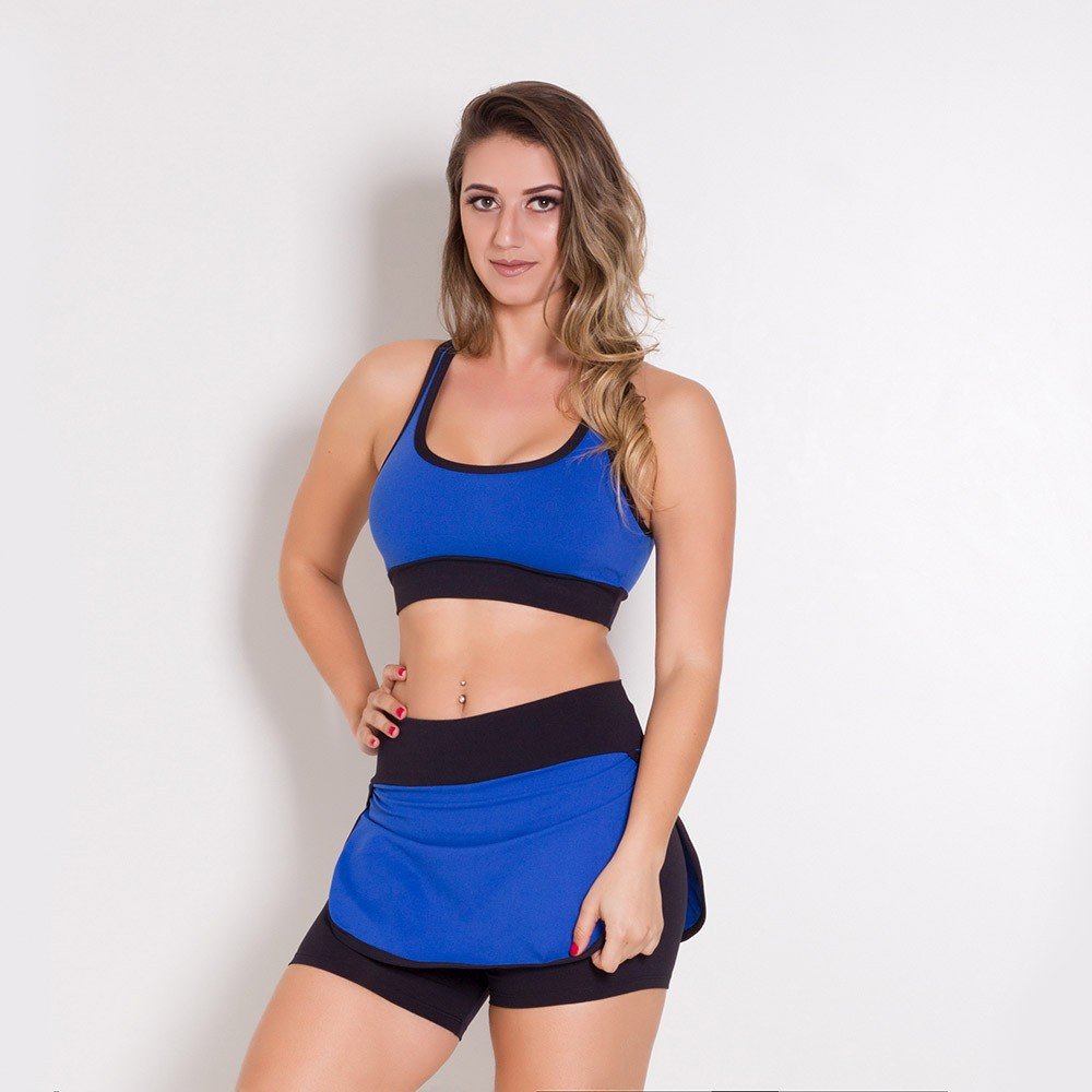 Conjunto Fitness Go Fit Rio Short/Saia e Top Azul/Preto