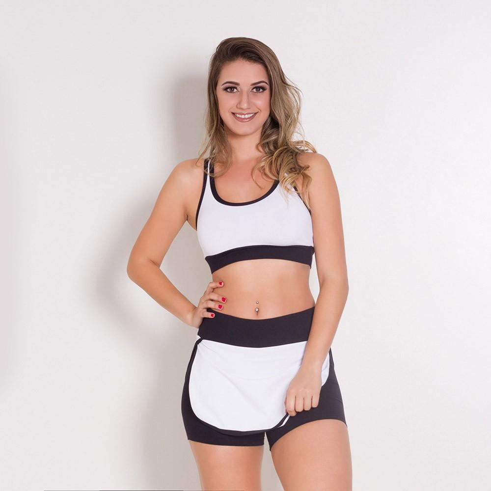 Conjunto Fitness Go Fit Rio Short/Saia e Top Preto/ Branco