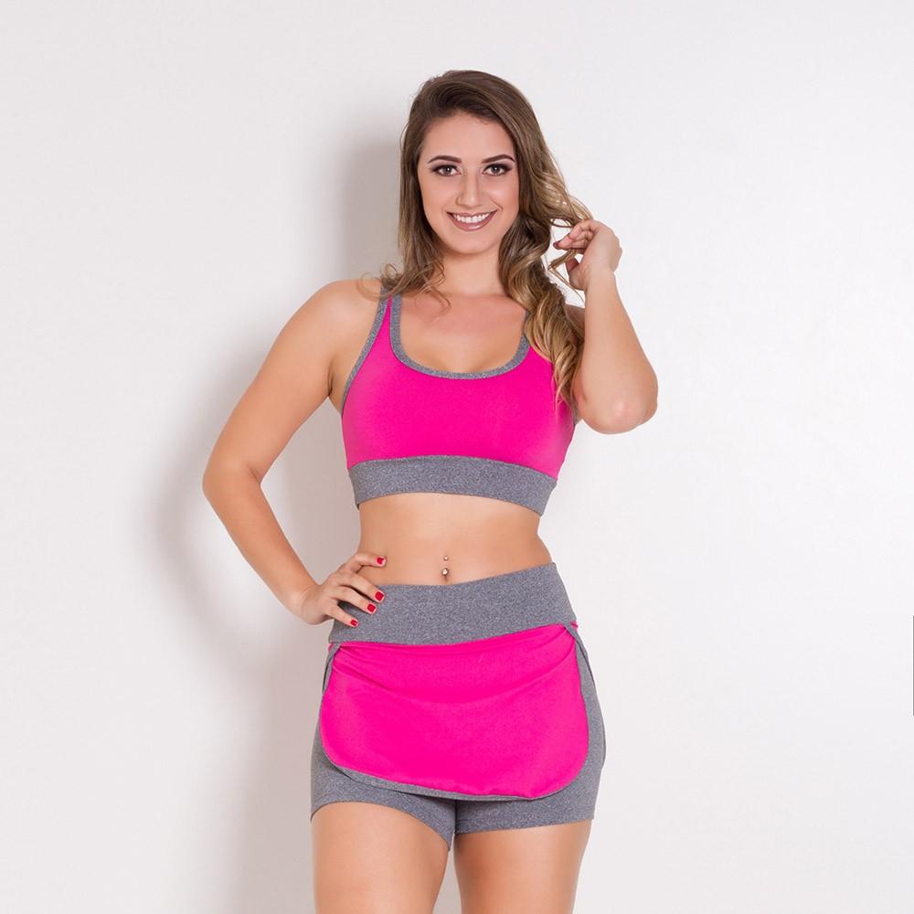Conjunto Fitness Go Fit Rio Short/Saia e Top Rosa/Cinza