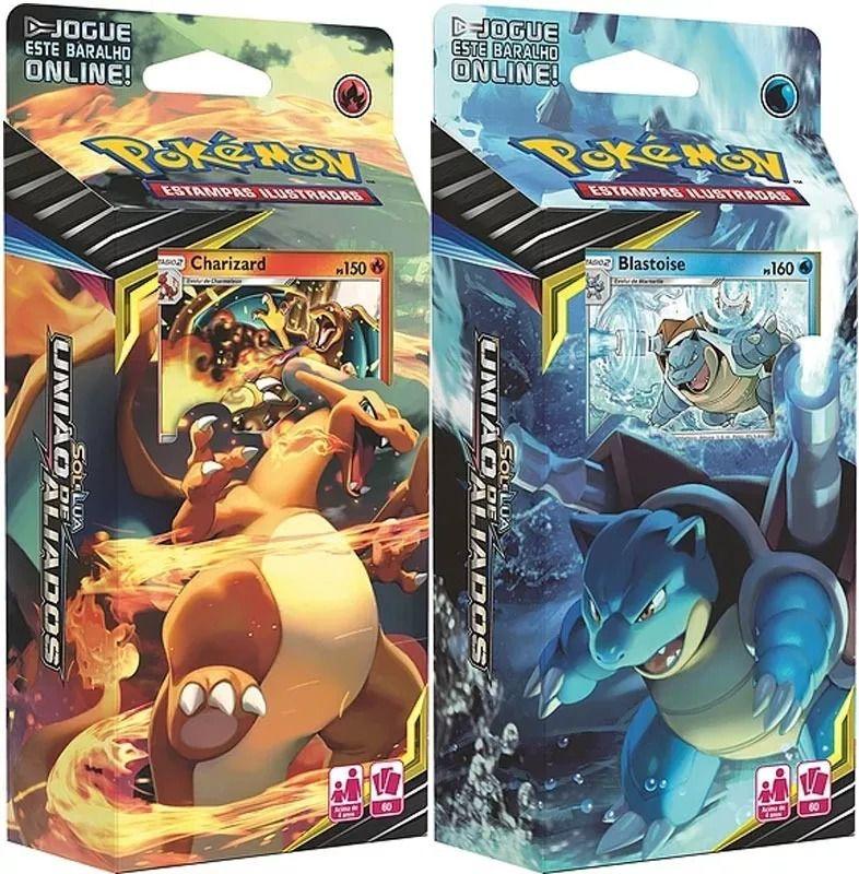2 Decks Pokémon Sol & Lua 9 União De Aliados Charizard e Blastoise