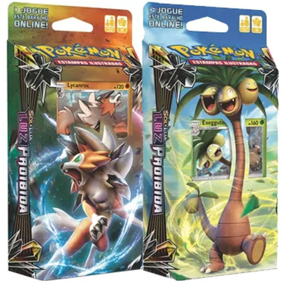 2 Decks Pokémon Sol e Lua Luz Proibida Exeggutor de Alola e Lycanroc