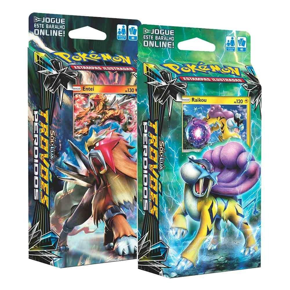 2 Decks Pokémon Sol Lua Trovões Perdidos Entei Raikou Cards