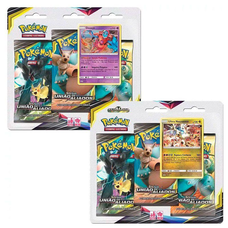 2 Triple Pack Pokémon Sol & Lua 9 União De Aliados Ultra Necrozma e Deoxys