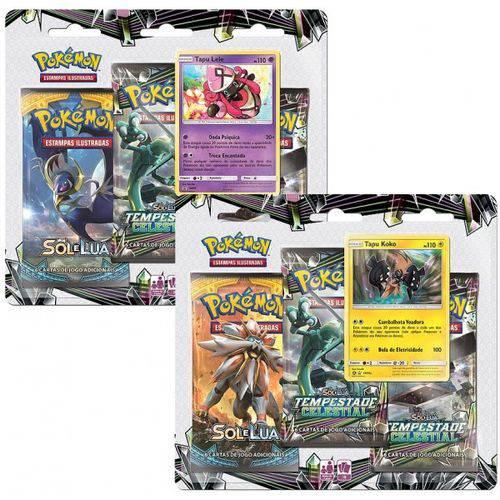 2 Triple Pack Pokémon Sol e Lua Tempestade Celestial Tapu Koko e Tapu Lele