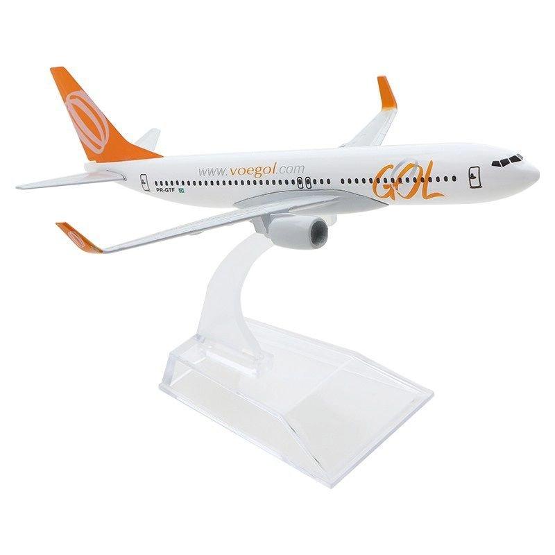 Avião Comercial Boeing 737 GOL - Miniatura de Metal 15,5 cm