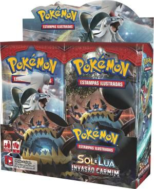 Box 36 Booster Cards Pokémon Sol e Lua Invasão Carmim