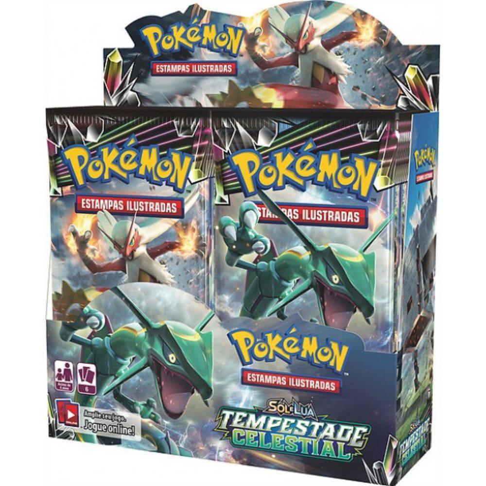 Box 36 Booster Cards Pokémon Sol e Lua Tempestade Celestial 216 Cards