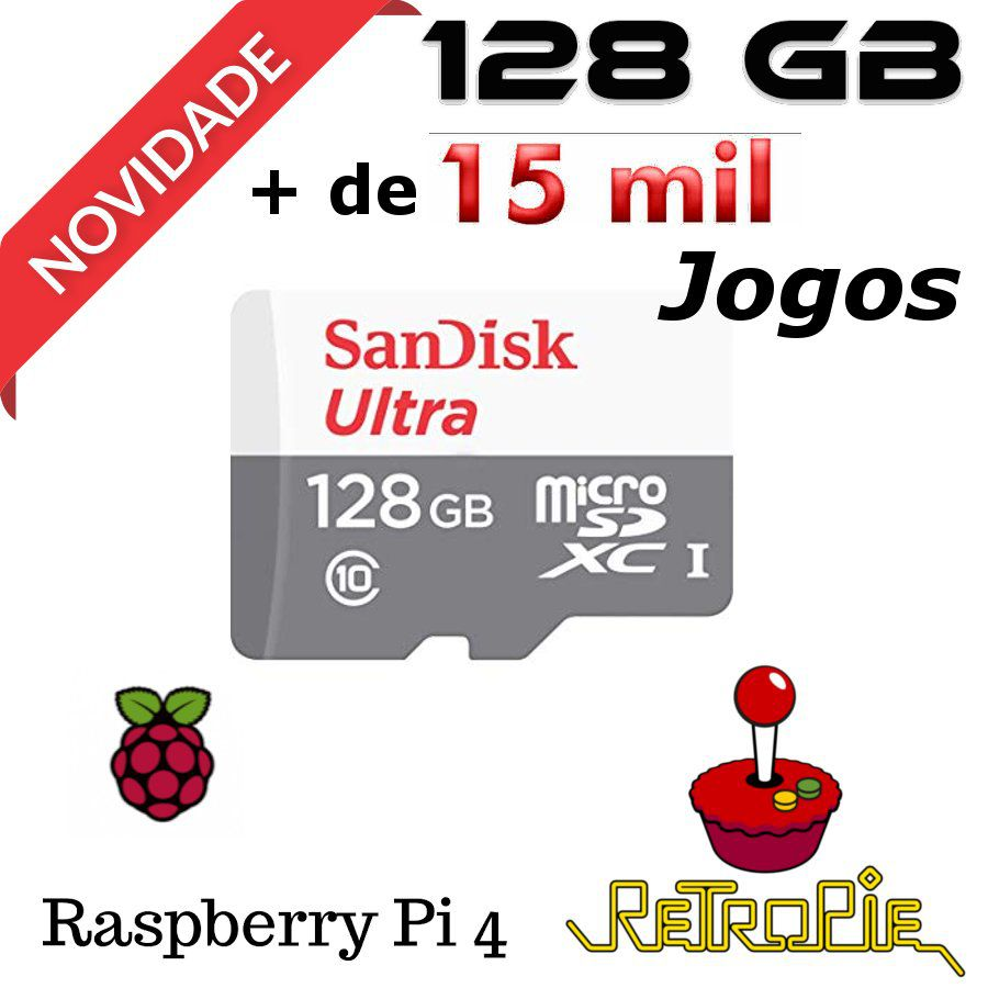 Cartão Micro Sd 128gb Sistema - Retropie para  Rasberry Pi 4 Model B