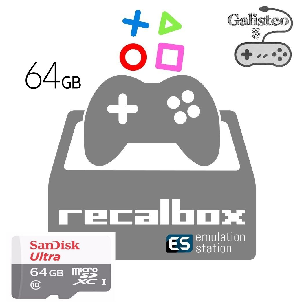 Cartão Micro Sd 64gb Galisteo Recalbox 6.0 Raspberry