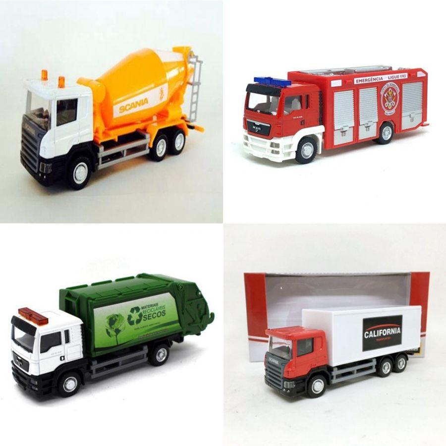 Coleção 04 Miniaturas de Caminhões  – California Junior Truck - 14 cm