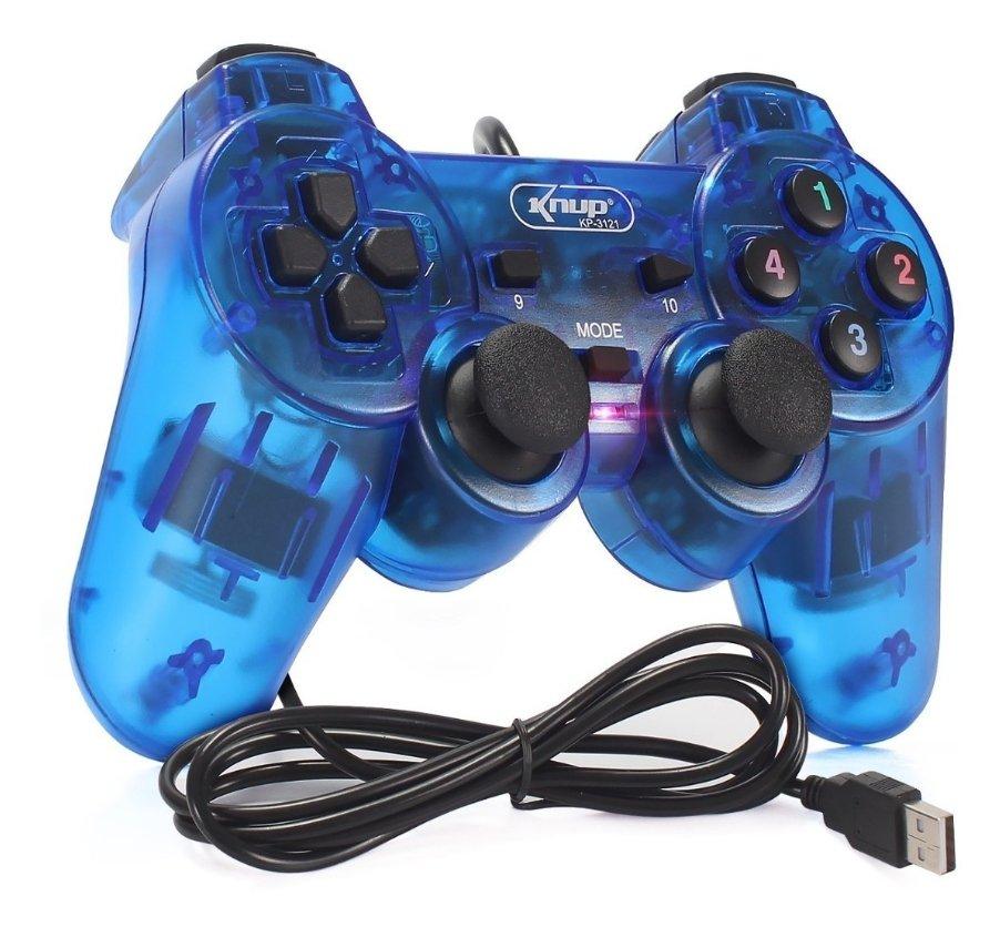 Controle Joystick Analógico e Digital USB Knup - KP-3121 Azul