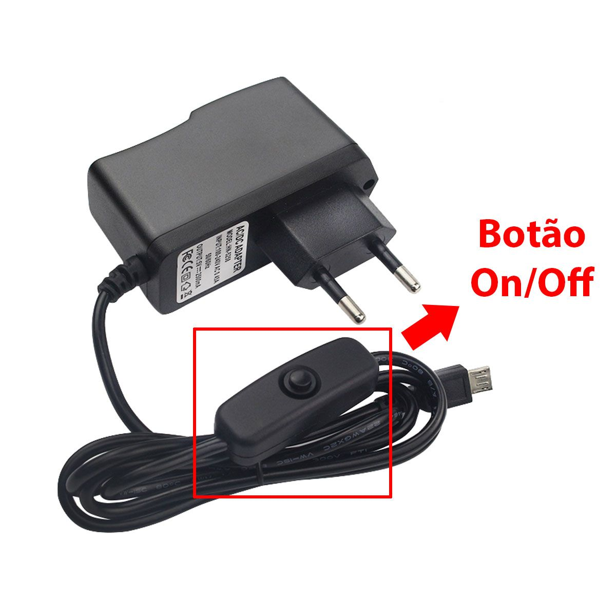 Fonte Raspberry Pi DC Chaveada 5v 2.5A Bivolt Plug Micro USB