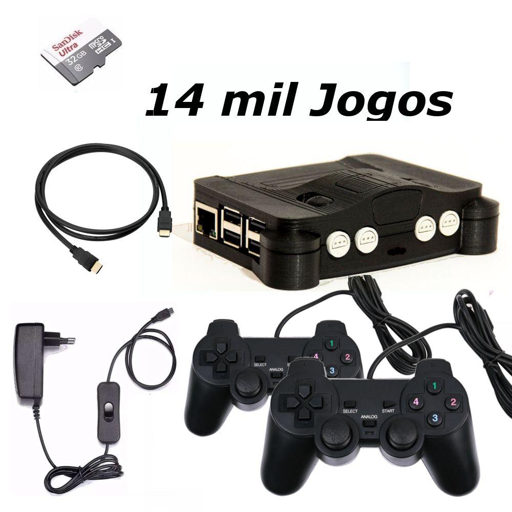 Game Retro com 14 MIL Jogos 32GB com 2 Controles Analogicos - N64