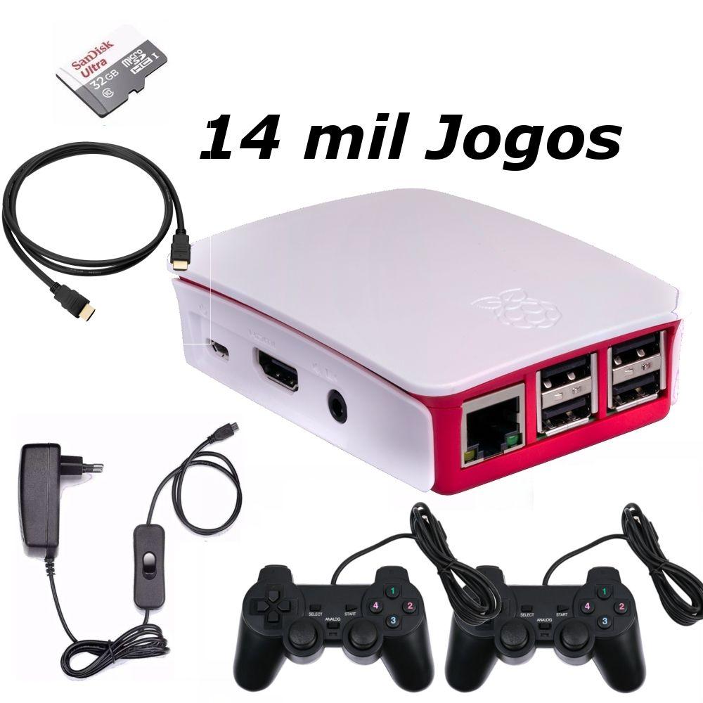 Game Retro com 14 MIL Jogos 32GB com 2 Controles Usb