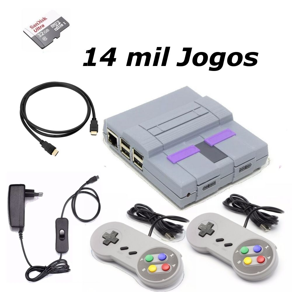 Game Retro com 14 MIL Jogos 32GB com 2 Controles Super Nintendo