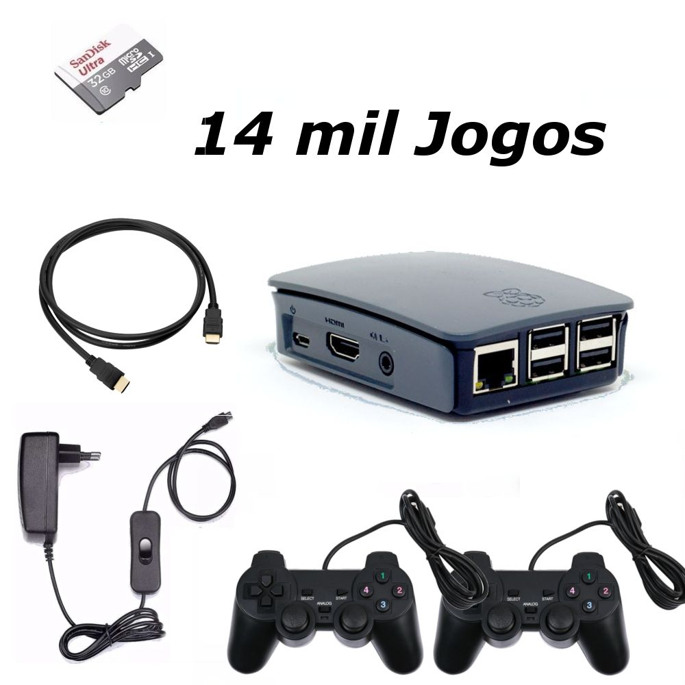 Game Retro com 14 MIL Jogos 32GB com 2 Controles Usb - pi 3B+