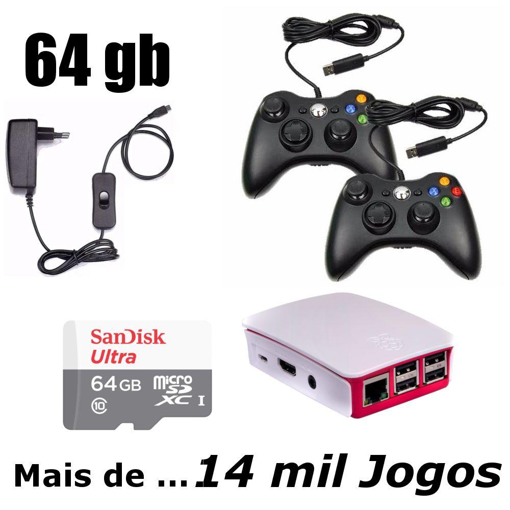Game Retro com mais de 14 MIL Jogos 64GB com 2 Controles Usb x360