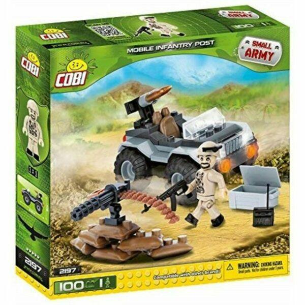 Jeep Militar Com Boneco e Acessorios Blocos Para Montar Com 100 Pçs Cobi
