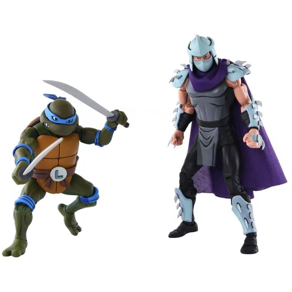 Leonardo e Shredder das Tartarugas Ninja - Cartoon 2 Pack Action Figure - Neca