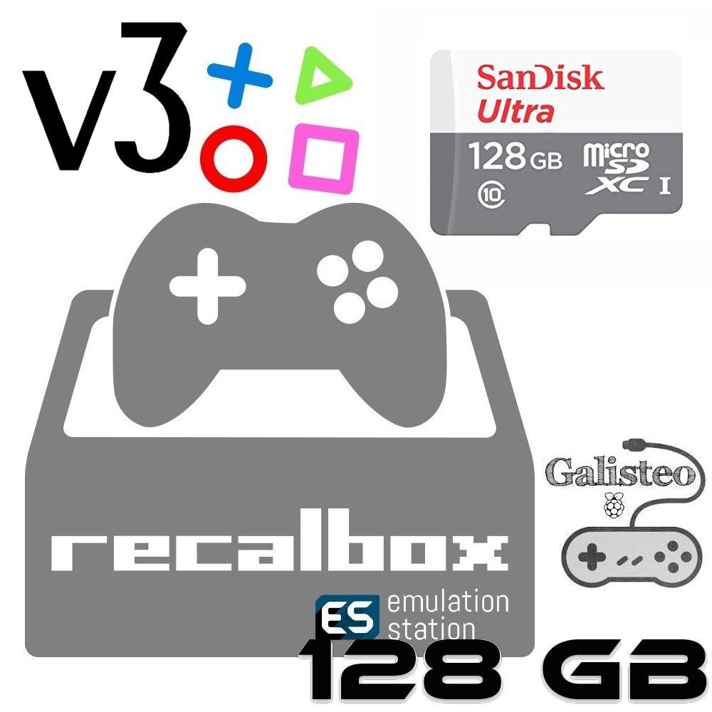 Micro sd 128GB - Galisteo Cobalto v3 - Rasp Pi3 B/B+ Recalbox 6.1 DragonBlaze