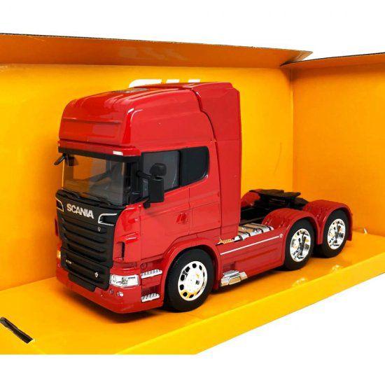 Miniatura Caminhão Cavalo Scania V8 R730 6x4 - Vermelho - 1:32 - Welly