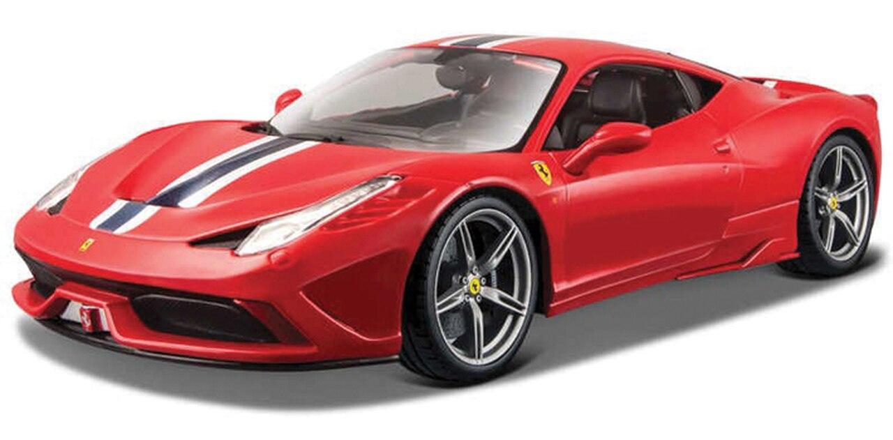 Miniatura Carro Ferrari 458 Speciale - Race e Play - Vermelha - 1:18 - Burago