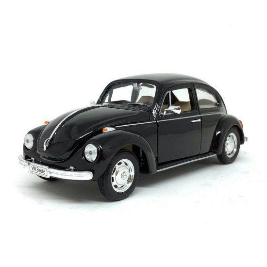 Miniatura Carro Volkswagen Fusca / Beetle (Hard-Top) - Preto - 1:24 - Welly