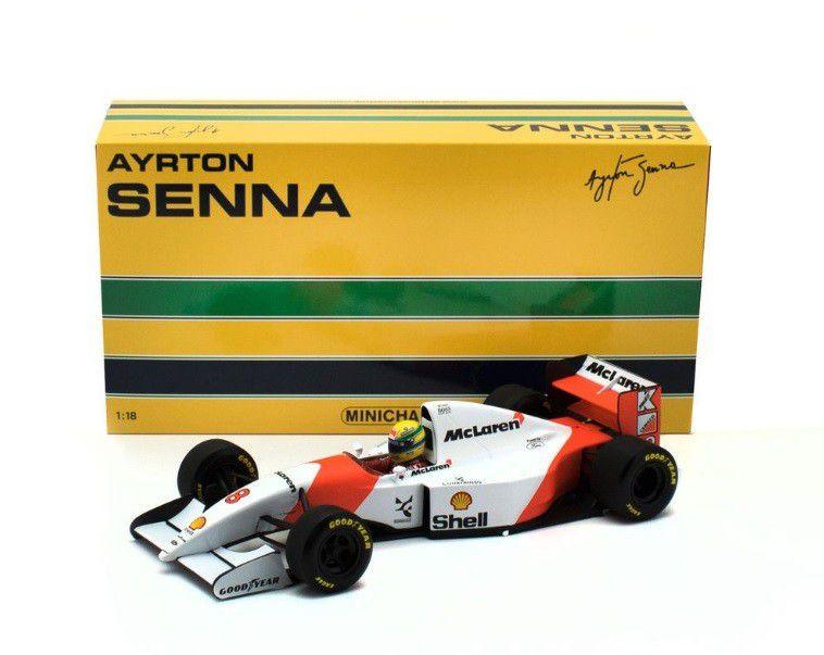Miniatura Fórmula 1 McLaren Honda Mp4/7 - 1 Ayrton Senna - 1:18 - Minichamps