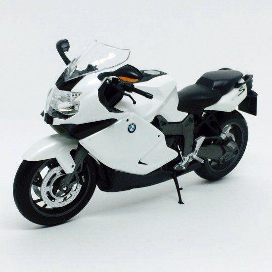 Miniatura Moto BMW K1300S - Preta e Branca - 1:10 - Welly