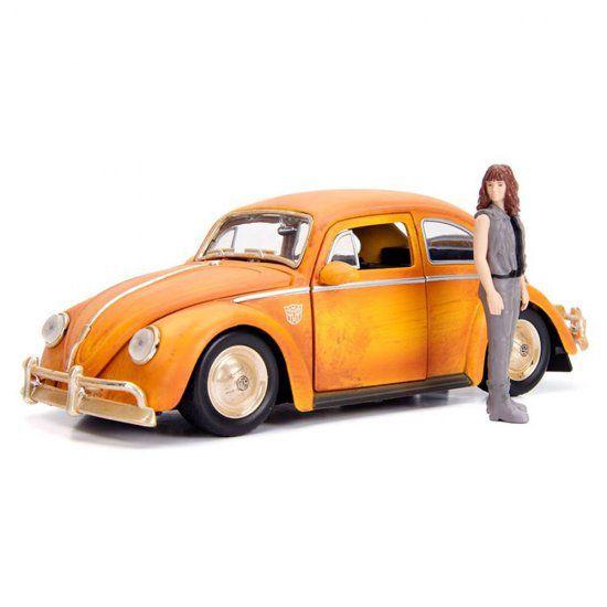 Miniatura Volkswagen Fusca Bumblebee + Figura Charlie 1:24 - Jada Toys