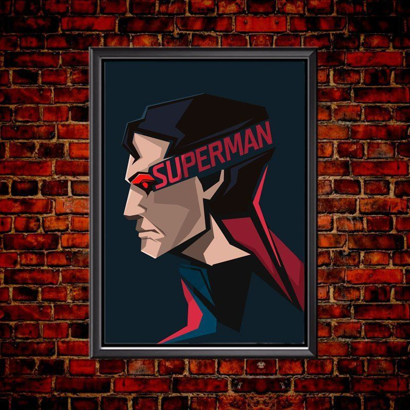 Quadro Poster Minimalista Face Superman