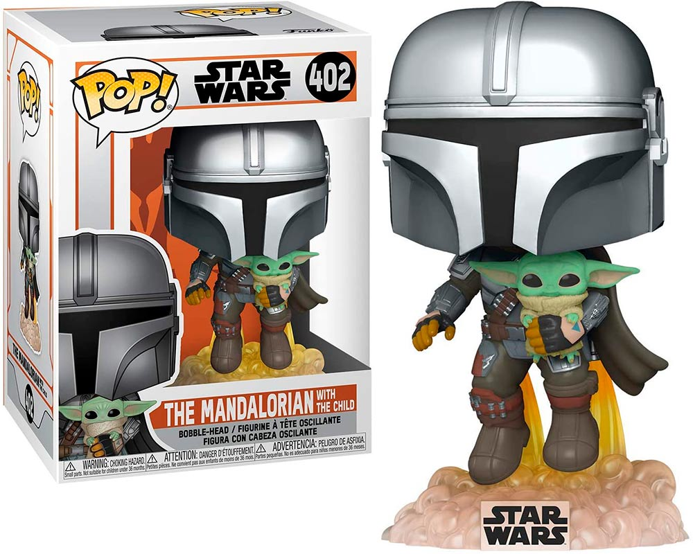 Star Wars Mandalorian Flying w/ the Child Baby Yoda Funko Pop