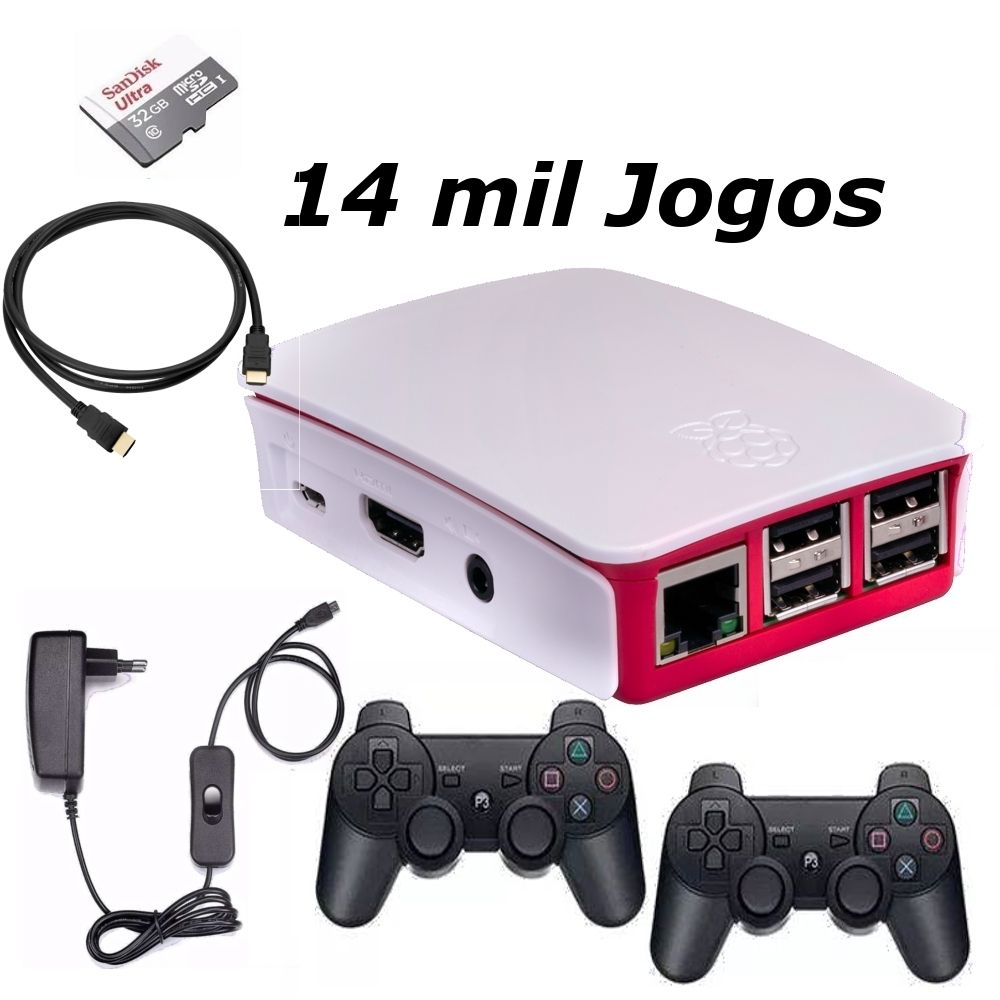Vídeo Game Retro com 14 MIL Jogos 32GB com 2 Controles sem fio