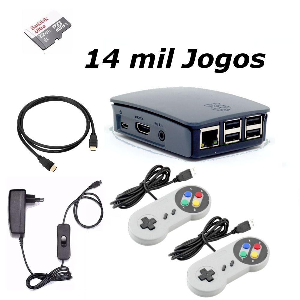 Vídeo Game Retro com 14 MIL Jogos 32GB com 2 Controles Snes