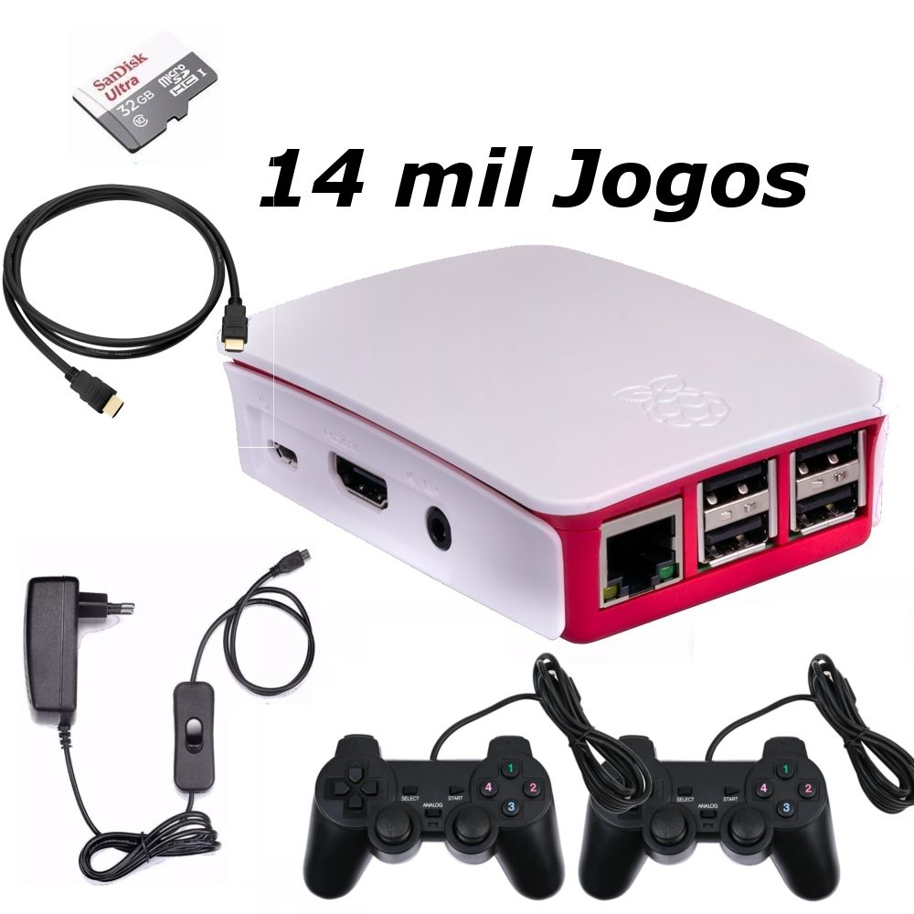 Vídeo Game Retro com 14 MIL Jogos 32GB com 2 Controles Usb