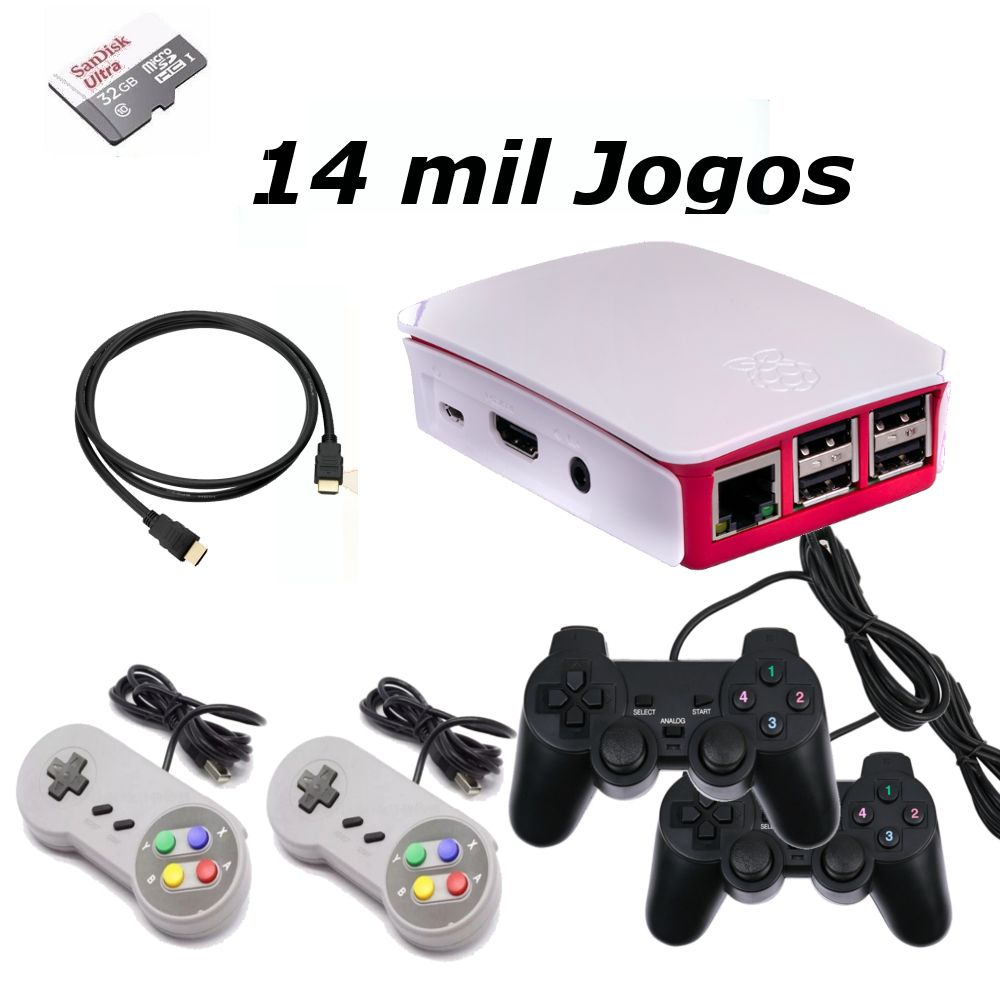 Vídeo Game Retro com 14 MIL Jogos 32GB com 4 Controles usb