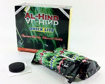 Carvão para Narguile tipo pastilha, AL-HIND, caixa com 80 unidades -cod.940