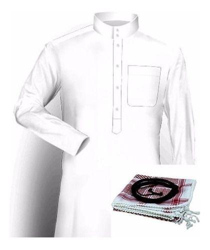 Roupa Árabe Masculina Completa, túnica, lenço e cordão