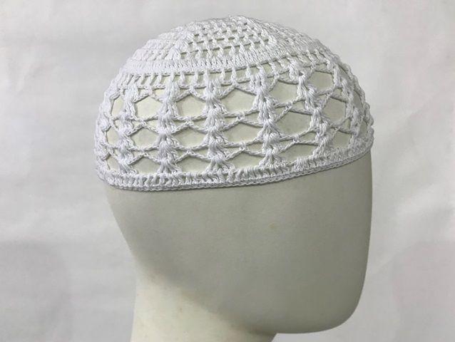 Gorro Islâmico de crochê branco (takia, kufi) cod. 002