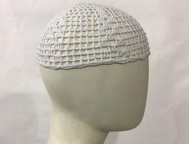 Gorro Islâmico de crochê branco (takia, kufi) cod. 004