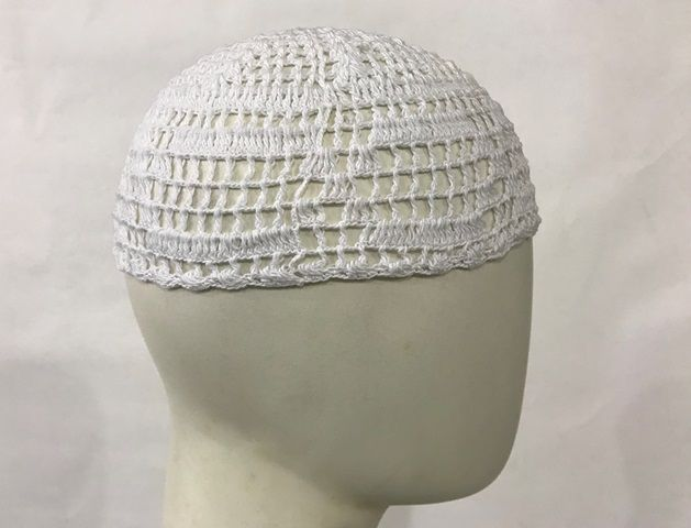 Gorro Islâmico de crochê branco (takia, kufi) cod. 005