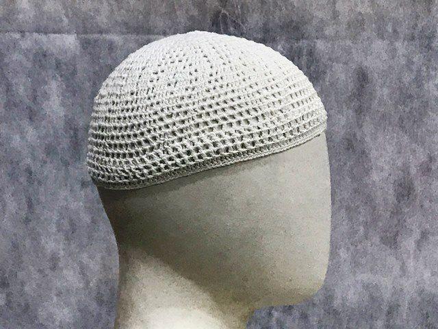 Gorro Islâmico de crochê branco (takia, kufi) TAM. M e G