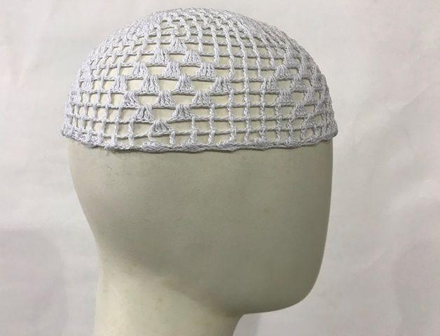 Gorro Islâmico de crochê branco (takia, kufi) cod. 008